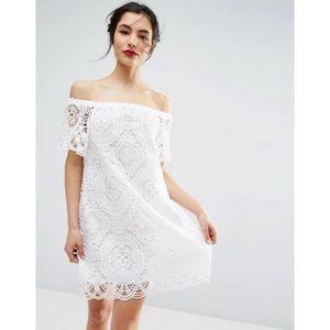 ASOS premium lace off shoulder dress